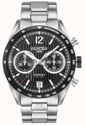 Roamer Mens superior chrono ii relógio de pulseira de prata 510902415450
