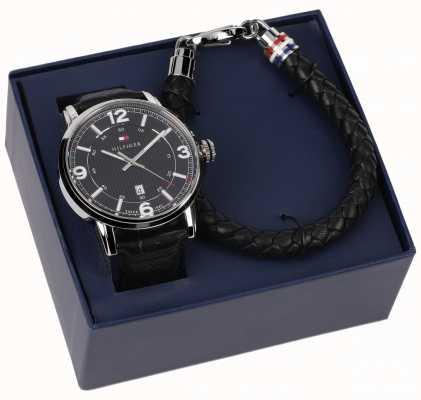 Tommy Hilfiger Relógio de couro para homem e conjunto de bracelete 2770026