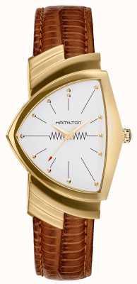 Hamilton Ventura ouro pulseira de couro marrom H24301511