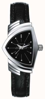 Hamilton Womens ventura aço inoxidável e relógio de couro preto H24211732