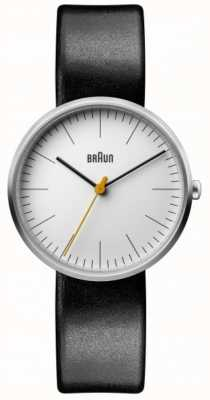 Braun Bracelete de couro preto clássico mostrador branco das mulheres BN0173WHBKL