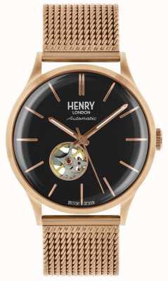 Henry London Mens herança automática rosa banhado a ouro pulseira de malha HL42-AM-0286