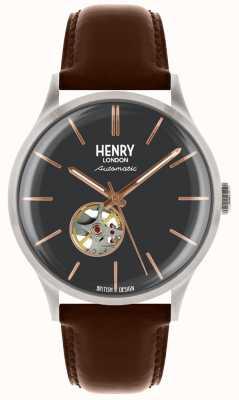 Henry London Mens pulseira de couro marrom automático com mostrador azul HL42-AS-0281