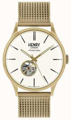 Henry London Mens pulseira de malha de ouro tom automático mostrador branco HL42-AM-0284