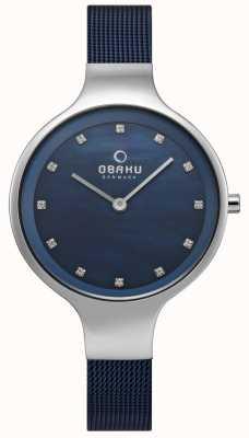 Obaku Céu das mulheres assistir pulseira de malha azul V173LXCLML