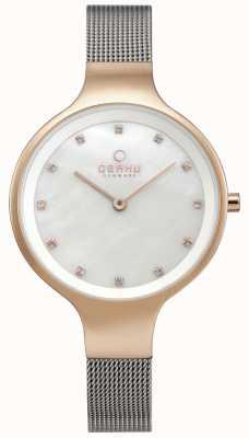 Obaku Relógio do céu das mulheres pulseira de malha de prata rosa caso tom de ouro V173LXVWMC