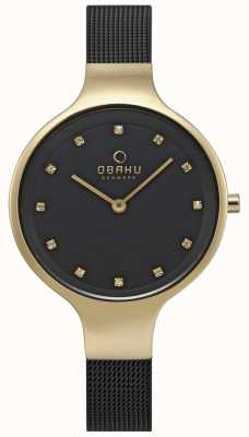 Obaku Céu das mulheres assistir pulseira de malha preta caso tom de ouro V173LXGBMB