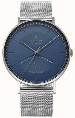Obaku Mens olmo relógio pulseira de malha de prata azul discagem V213GUCLMC