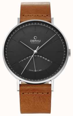 Obaku Mens elm watch pulseira de couro marrom preto V213GUCURZ