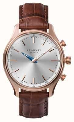 Kronaby 38mm sekel bluetooth rosa pulseira de couro de ouro smartwatch A1000-2748
