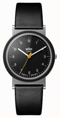 Braun Clássico 1989 projeto de tributo pulseira de couro preto mostrador preto AW10
