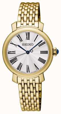 Seiko Womens banhado a ouro pulseira relógio mostrador branco SRZ498P1