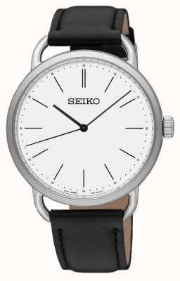 Seiko Womens recraft assistir pulseira de couro preto mostrador branco SUR237P1
