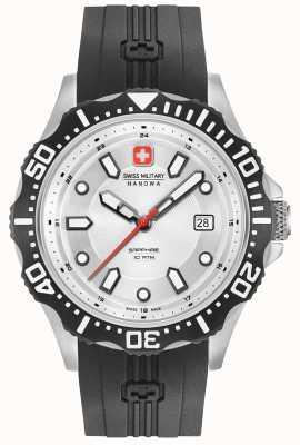Swiss Military Hanowa Patrol prata mostrador preto pulseira de silicone 06-4306.04.001SM