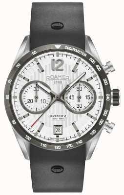 Roamer Chrono ii preto superior pulseira de silicone mostrador branco 510902411405
