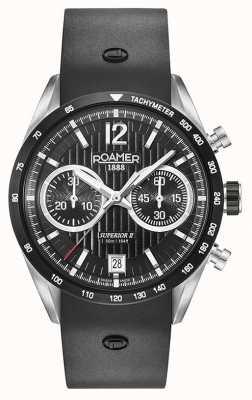 Roamer Crono preto superior cinta preta silicone dial 510902415405