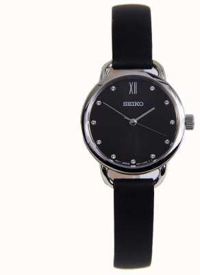 Seiko Caixa de aço inoxidável clássico das mulheres cinta de couro preta SUR699P1