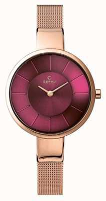 Obaku Mulheres sol roxo mostrador rosa pulseira de malha de ouro V149LXVQMV