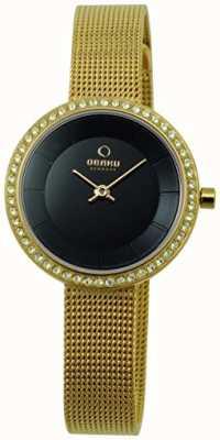 Obaku Pulseira de aço-tom de 27mm em ouro feminino e quartzo V146LGBMG2