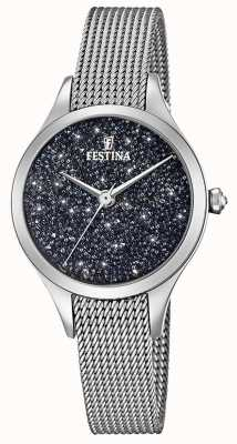 Senhoras Festina assistir com cristais swarovski pulseira de malha F20336/3