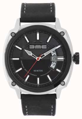 DeLorean Motor Company Watches Alfa dmc pulseira de couro preto mostrador preto DMC-1