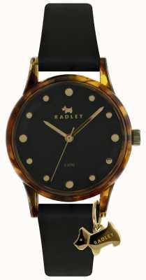 Radley Senhoras preto 33 milímetros caso preto dial charme cão preto RY2640