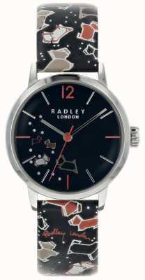 Radley Senhoras prata 31 milímetros caso de tinta de discagem padrão de tinta pulseira de couro RY2623