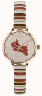 Radley Senhoras 24mm caso discagem giz / pulseira de couro tan coral RY2628