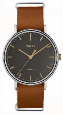 Timex Estojo cromado de couro castanho Fairfield 41 mm TW2P97900