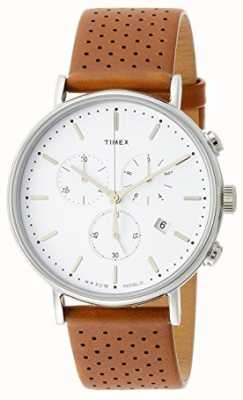 Timex Correia de couro marrom Fairfield chrono / mostrador branco TW2R26700