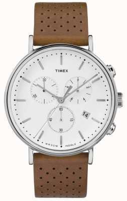 Timex Bracelete de couro marrom crono Fairfield / mostrador branco TW2R26700