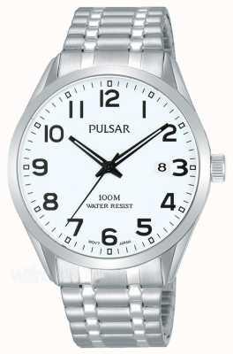 Pulsar Mens pulseira de aço inoxidável relógio com mostrador de data PS9559X1