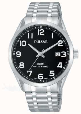 Pulsar Pulseira de expansão em aço inoxidável com mostrador preto PS9563X1