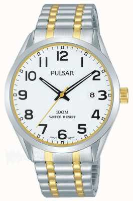 Pulsar Mens dois tons pulseira data dial PS9565X1