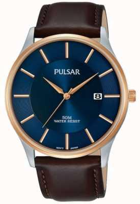 Pulsar Mens rosa banhado a ouro caso pulseira de couro preto mostrador azul PS9546X1