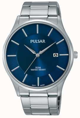 Pulsar Exibição de data de discagem azul de aço inoxidável PS9541X1
