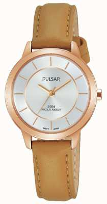 Pulsar Womens rosa banhado a ouro pulseira de couro marrom PH8374X1