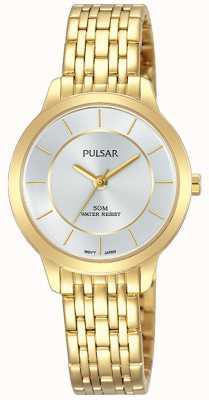 Pulsar Resistência de pulseira de aço inoxidável 50m chapeado de ouro das mulheres PH8370X1