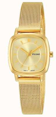Pulsar Resistência de aço inoxidável 30m malha pulseira de ouro das mulheres PH8380X1