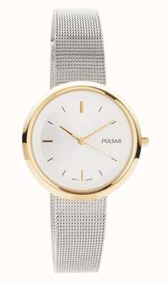 Pulsar Mulheres | pulseira de malha de aço inoxidável | caixa redonda de ouro | PH8386X1