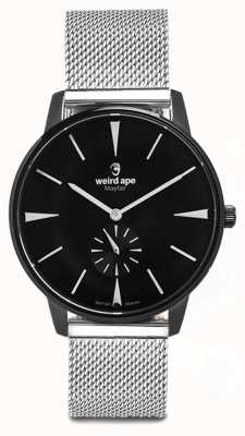 Weird Ape Mayfair black dial marcadores brancos pulseira de malha de prata WA02-005625