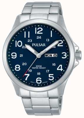 Pulsar Pulseira de aço inoxidável Mens data de dia de discagem azul PJ6095X1