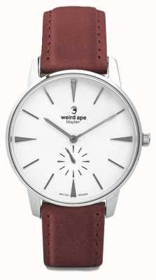 Weird Ape Mayfair white silver dial pulseira de camurça vermelho sangue WA02-005644