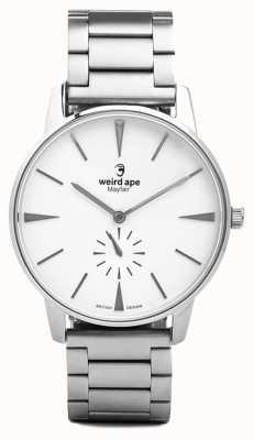 Weird Ape Mayfair white dial pulseira de link de prata WA02-005640