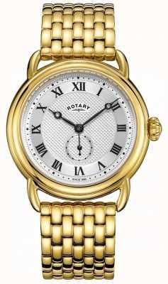 Rotary Mens canterbury pulseira banhado a ouro GB05338/21