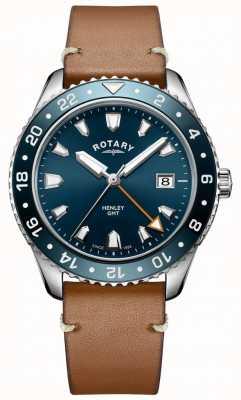 Rotary Mens henley gmt couro marrom relógio com mostrador azul GS05108/05