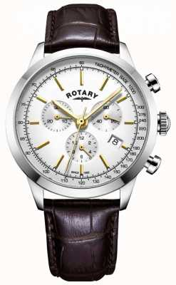 Rotary Mens cambridge cronógrafo relógio de couro GS05253/02