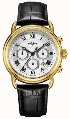 Rotary Relógio de couro cronógrafo canterbury para homem GS05333/21