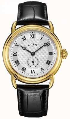 Rotary Mens canterbury caso de ouro pulseira de couro preto GS05338/21