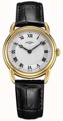 Rotary Canterbury feminino de couro preto relógio de caixa de ouro LS05338/21